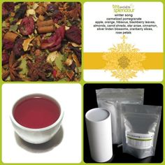 winter song - a song to your palate...caramelized pomegranate with apple, orange, hibiscus, blackberry leaves, almonds, carrot shreds, star anise, cinnamon, silver linden blossoms, cranberry slices and rose petals!