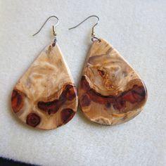 Norfolk Island Pine Exotic Wood Large #Earrings by #ExoticWoodJewelryAnd @artnmore