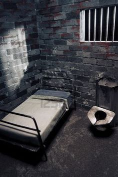 Prison cell at night