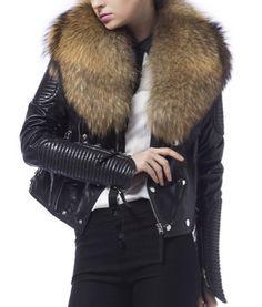 Danny Joe leather jacket. Biker jacket with removable fur collar. #slayaccessories #bikerjacket #leatherjacket #motojacket #leatherandfur #motorcylejacket #leather
