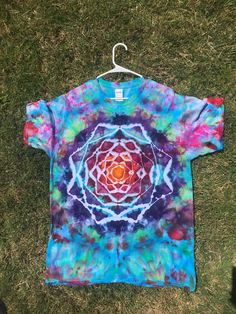 This shirt was handmade with love and care for a beautiful soul out there to enjoy :) Shirt is Large! Every shirt is 100% cotton and Gildan and dyed with Fiber Reactive Procion Dyes Each creation is made one of a kind, but if requested will attempt to do a similar design. I do all Tie Dye Party, Ice Dyeing, Tye Dye, Beautiful Soul, Ikat, Dyes, Projects To Try, Fiber, Craft Ideas