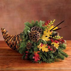 Start the season of celebration with a Harvest Cornucopia Centerpiece. Made entirely in Oregon, this basket packed with woodsy treasures will be the highlight of your cen Church Flowers, Fall Flowers, Fall Flower Arrangements, Thanksgiving Centerpieces, Arte Floral, Fall Wreaths, Fall Crafts, Fall Halloween, Highlight