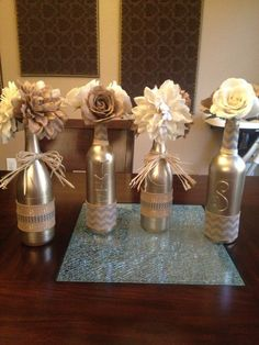 Empty Wine Bottle Crafts | Painted empty wine bottles. Covered with burlap ribbon. … | Crafts Pin It