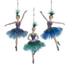 Peacock Ballerina Ornaments, 3 Assorted