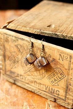 Golden Brown Mini Leather Journal Earrings, the perfect accessory for a writer and reader.