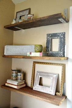 Rustic wood shelves with L bracket