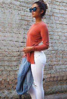 7/8 Refuge Denim High Waist Jeans (New Season Style) - White Ripped Knees