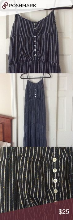 Tommy girl maxi dress! Tommy girl maxi dress! Adjustable straps, and buttons down in front! Navy blue with white striped and baby blue and yellow polka dots! Tommy Hilfiger Dresses