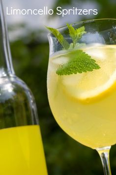 Limoncello Spritzers - •Fill 6 tumblers halfway with ice. Stir 1/2 cup of limoncello and 2 tablespoons of lemon juice (fresh) into each glass. Top with 1/4 cup of club soda and serve. Add a garnish of lemon to squeeze and a fresh sprig of mint.