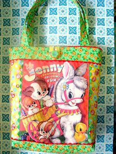 Jenny The Burro Vintage Coloring Book Tote by Bethsbagz on Etsy