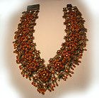 Michal Negrin Vintage Necklace orange red and yellow crystal and Glass flowers - Crystal, Flower's, Glass, Michal, Necklace, Negrin, Orange, Vintage, Yellow - http://designerjewelrygalleria.com/michal-negrin/michal-negrin-necklaces/michal-negrin-vintage-necklace-orange-red-and-yellow-crystal-and-glass-flowers/