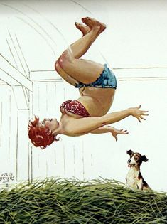 HILDA does a Flip in the Hay ! while her dog watches on ........hay flip
