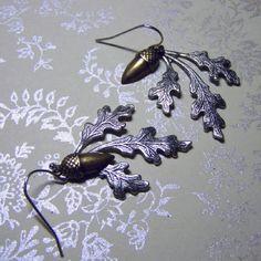 Oak Leaf and Acorn Earrings  Sterling Silver by SouthernBelleOOAK, $14.00