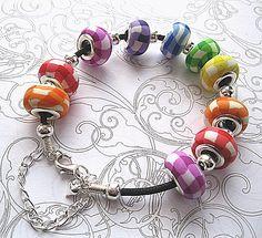 Rainbow Gingham Polymer Clay Pandora Bracelet £20.00 Very effective look