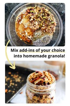 This homemade quinoa crunch granola is perfect to throw over yogurt, top over a baked apple, or simply eat on its own for a snack! It's completely customizable so you can use ingredients you already have on hand. #Vegan #GlutenFree #HomemadeGranola #WholeGrains #Customizable #CheerfulChoices Healthy Eating Recipes, Healthy Dishes, Healthy Food, Yummy Food, Healthy Breakfast Choices, Vegetarian Breakfast, Breakfast Recipes, Healthy Sweet Treats, Foods With Gluten