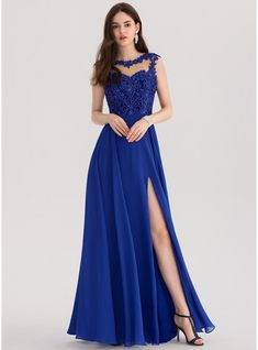 JJsHouse A-Line/Princess Scoop Neck Floor-Length Beading Sequins Split Front Zipper Up Cap Straps Sleeveless No Royal Blue Spring Summer Fall General Plus Chiffon Prom Dresses. Pretty Prom Dresses, Grad Dresses, Dance Dresses, Blue Dresses, Beautiful Dresses, Bridesmaid Dresses, Formal Dresses, Wedding Dresses, Chiffon Evening Dresses