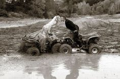 You only need your wedding dress for one day. After that, it makes a perfect outfit for off-roading.
