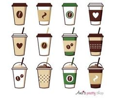 Coffee cup clipart coffee vector illustrations coffee pot coffee break espresso cappuccino latte mocha ice coffee paper cup - Coffee Icon - Ideas of Coffee Icon - Coffee Cup Clipart, Starbucks, Mochi, Kawaii Drawings, Aesthetic Stickers, Food Props, Clip Art, Coffee Break, Props Art