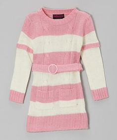 Take a look at this Pink & Cream Stripe Layered Sweater Dress - Toddler & Girls by Dollhouse on #zulily today!