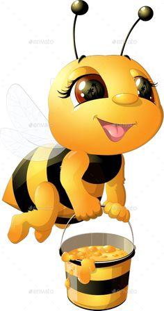 Buy Bee on a White Background by on GraphicRiver. funny bee painted on a white background Art Drawings For Kids, Cute Drawings, Animal Drawings, Cartoon Bee, Cute Cartoon, Bee Pictures, Cute Bee, Bee Art, Bee Happy