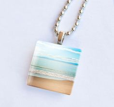 Beach necklace glass tile pendant beach by mylittlepixels