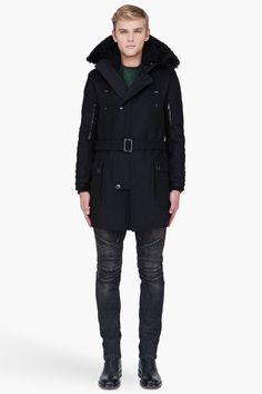 Balmain Black Hooded Long Wool Parka for Men | SSENSE