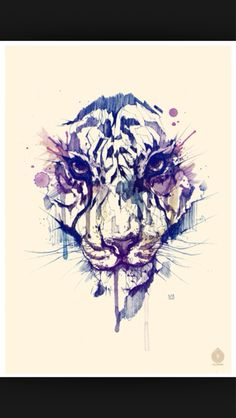 watercolor tiger tattoo,  but instead of a tiger I would get my dogs face so in love!