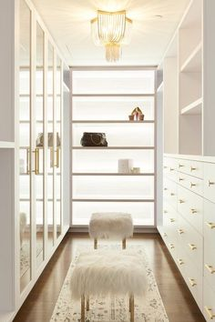 Jun 2019 - Custom closet details with back lit shelves, enclosed glass shoe shelves, open and closed storage with brass accents • Penthouse design by Studio P Interiors Walk In Closet Design, Bedroom Closet Design, Closet Designs, Garderobe Design, Wardrobe Room, Wardrobe Storage, Closet Storage, Modern Closet, Dressing Room Design