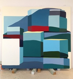 """Painter Louise Belcourt refers to her new work as """"paintings of sculptures of landscapes."""" The boxy, minimal shapes in her canvases are hybrids of the landscapes she divides her time between—the countryside in Quebec and the über-gentrified, urban one of Williamsburg, Brooklyn. // Mound # 3, 2011, oil on canvas. (thank you @no way Eve S for the insight)"""