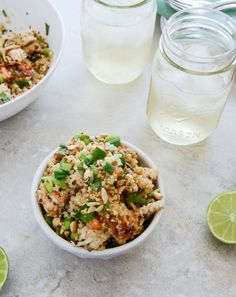 thai chicken quinoa - used left over white rice instead or quinoa, skipped the ginger + edamame + coconut milk + lime + cilantro. it was amazing, like a thai fried rice