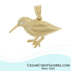 This gold and diamond Sandpiper is part of a new Shorebirds collection that is hand crafted by our talented Goldsmith.  See all of our NEWEST designs