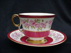 Adderley Bone China Cup and Saucer, Deep Pink Borders, Pink Roses