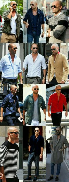 Milan Vukmirovic - Coolest looks around. Real men get into fashion and kick ass. men's fashion and style. masculine looks Bald With Beard, Bald Man, Mode Lookbook, Fashion Lookbook, Look Fashion, New Fashion, Fashion Outfits, Bald Men Fashion, Street Fashion