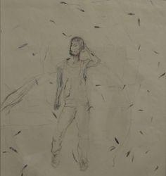 Self portrait. 2013. Pencil on handmade Khandi paper. Detail.