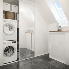 Hide washer with sliding doors Laundry Room Inspiration, Stacked Washer Dryer, Home Renovation, Mudroom, Sliding Doors, Washing Machine, Home Appliances, House, Design
