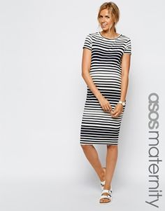 c9284b81497 Maternity Exclusive Bodycon Midi Dress In Varigated Stripe