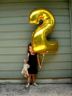 Big Gold Number Balloon - love the silver letters and numbers too!