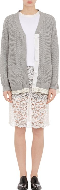 Sacai Luck Cable-Knit Drawstring Swing Cardigan at Barneys.com
