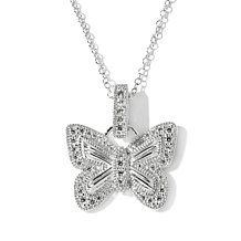 ".38ct Absolute™ Pavé Butterfly Enhancer Pendant with 18"" Chain"