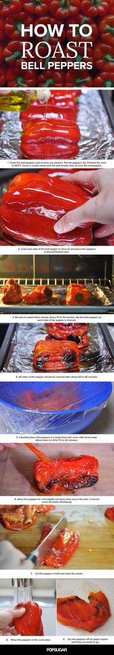 The Basics: Roasted Red Peppers__While it's easy to pick up a jar of roasted red peppers, it's nearly just as easy to make your own. You will need to pay a bit of attention while you roast them, so they don't get too charred, but in less than an hour, you Vegetable Recipes, Vegetarian Recipes, Healthy Recipes, Vegetarian Cooking, Rice Recipes, Delicious Recipes, Mexican Recipes, Cooking 101, Cooking Recipes