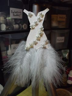 Prom Dress made from card stock & feathers