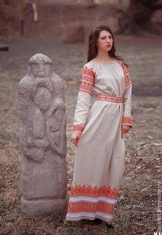 Купить Русская женская рубаха Макошь - белый, русская одежда, Лада, славянская вышивка