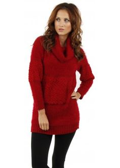 Designer Desirables Fluffy Bobble Dark Red Polo Neck Jumper
