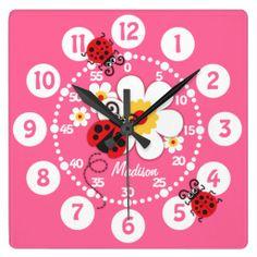 Kids ladybug & flowers cute pink girls wall clock art and design by www.sarahtrett.com