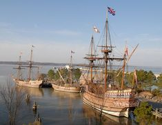Jamestown Settlement re-created 1607 ships. Williamsburg, VA area.