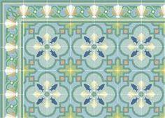 "Tropical decor cement tile flooring Shell Scroll ""Azul"" with Savona Aqua Floor Design, Tile Design, House Design, Border Tiles, Color Tile, Tropical Decor, Mosaic Patterns, Quatrefoil, Creative Home"