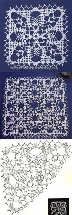 Ажурные мотивы для вязания скатерти или салфетки... <3 Deniz <3