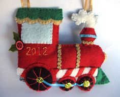 Felt Holiday Train Ornament