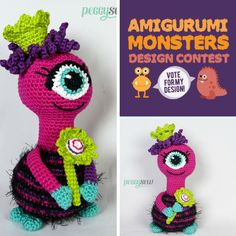 Princess Sky Amigurumi Patterns, Amigurumi Doll, Doll Patterns, Crochet Patterns, Crochet Monsters, Crochet Dragon, Monster Design, Homemade Toys, Doll Tutorial