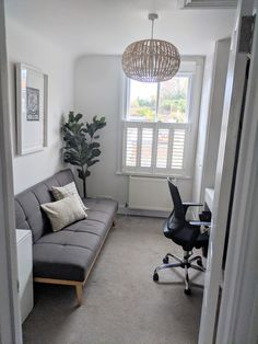 Bedroom Office Combo, Guest Bedroom Home Office, Spare Room Office, Cozy Home Office, Home Office Setup, Home Office Space, Home Office Design, Office Ideas, Office With Sofa